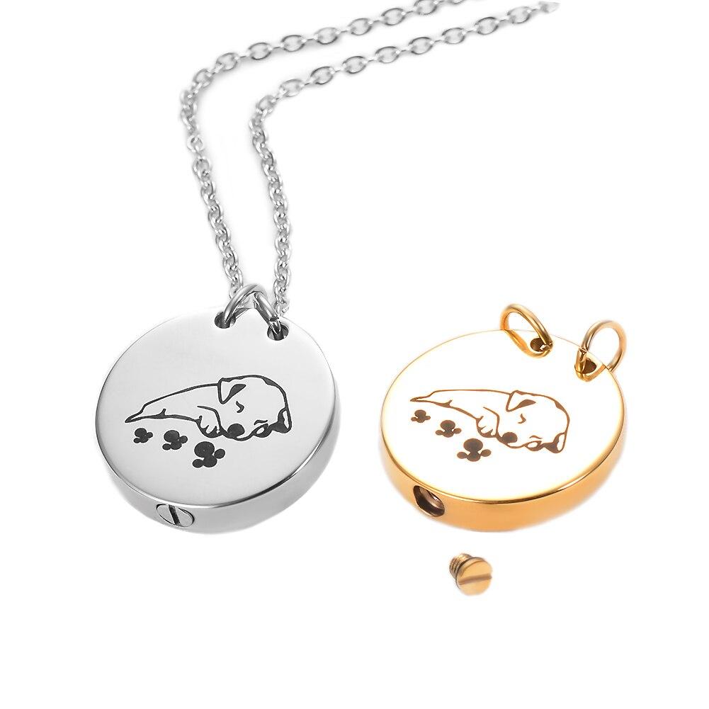 2 renk, Pet kremasyon kolye külleri Urns takı paslanmaz çelik yuvarlak köpek kedi Keepsake anıt Urn kolye madalyon