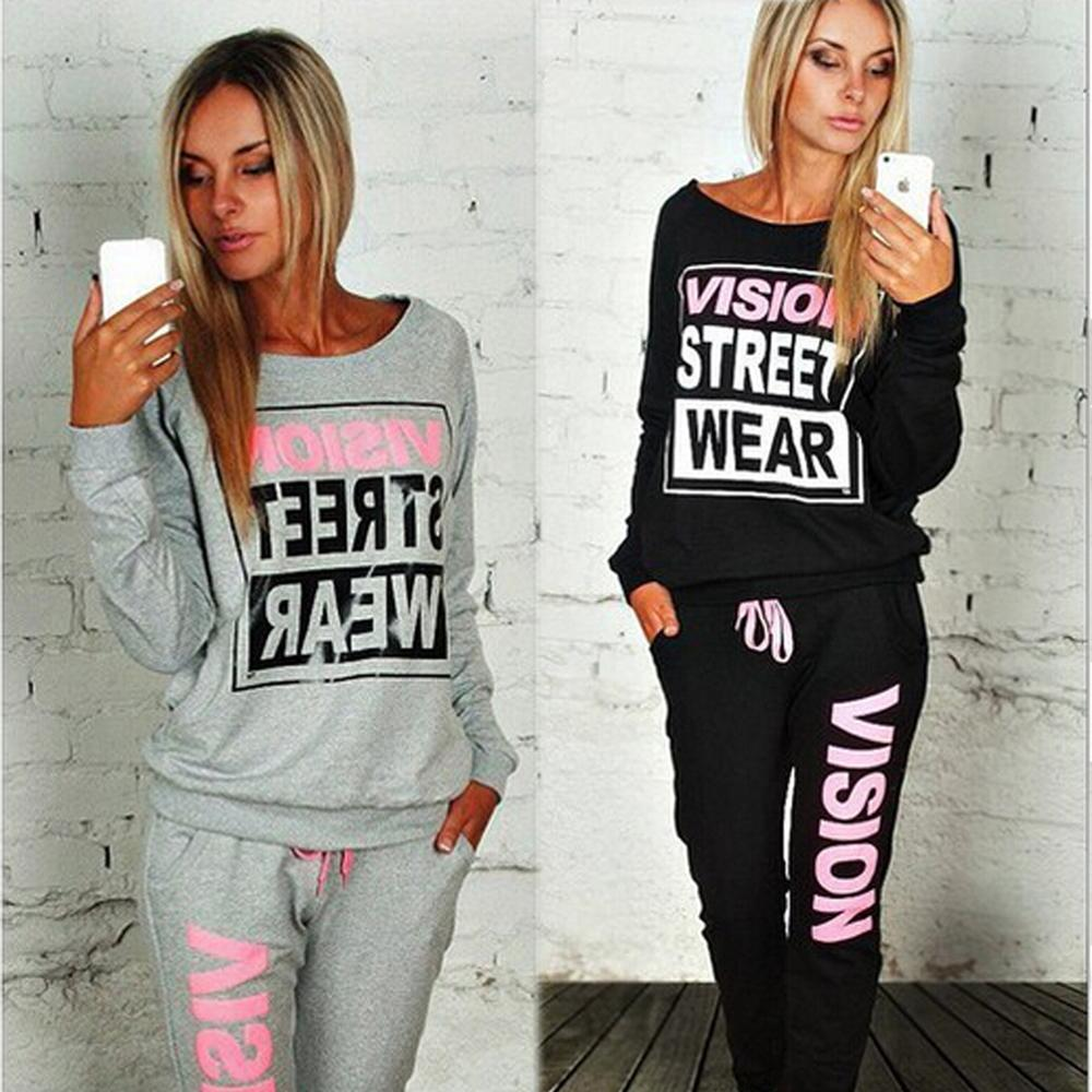 2020 Autumn Winter Fashing New Letter Street Wear Print Women's Tracksuits O-Neck Suit Set Suits For Women 2Pc