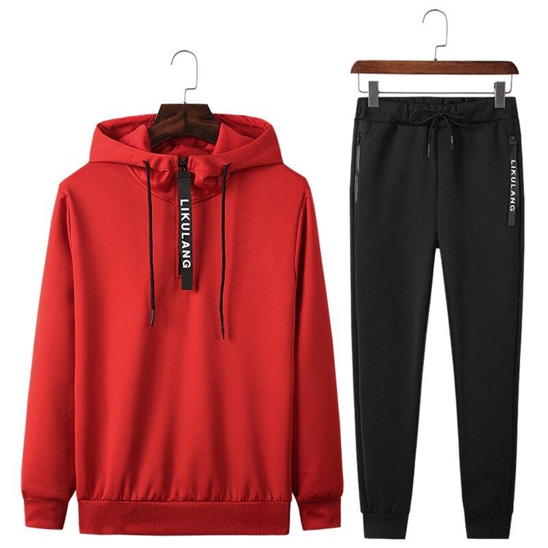 Conjuntos de roupas esportivas masculinas nova primavera outono com capuz terno masculino casual treino 2 peça moletom + moletom conjunto asiático tamanho 4xl