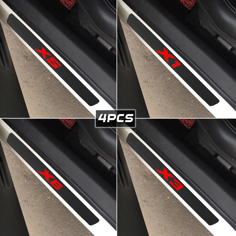 4Pcs Placa de Porta Do Carro De Fibra De Carbono Anti Scratch Adesivos para BMW 1 2 3 5 6 7-Série X1 X3 X4 X5 X6 M1