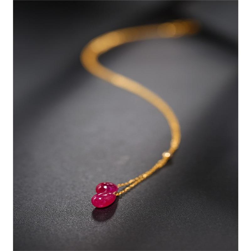 DAIMI عادي على شكل قطرة روبي قلادة الإناث الأصفر 18K الذهب اللون كنز الترقوة قلادة قلادة هدية