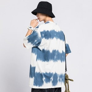 Summer new style gradual tie dye small daisy trend men's day department retro round neck student casual loose short sleeve T-shi