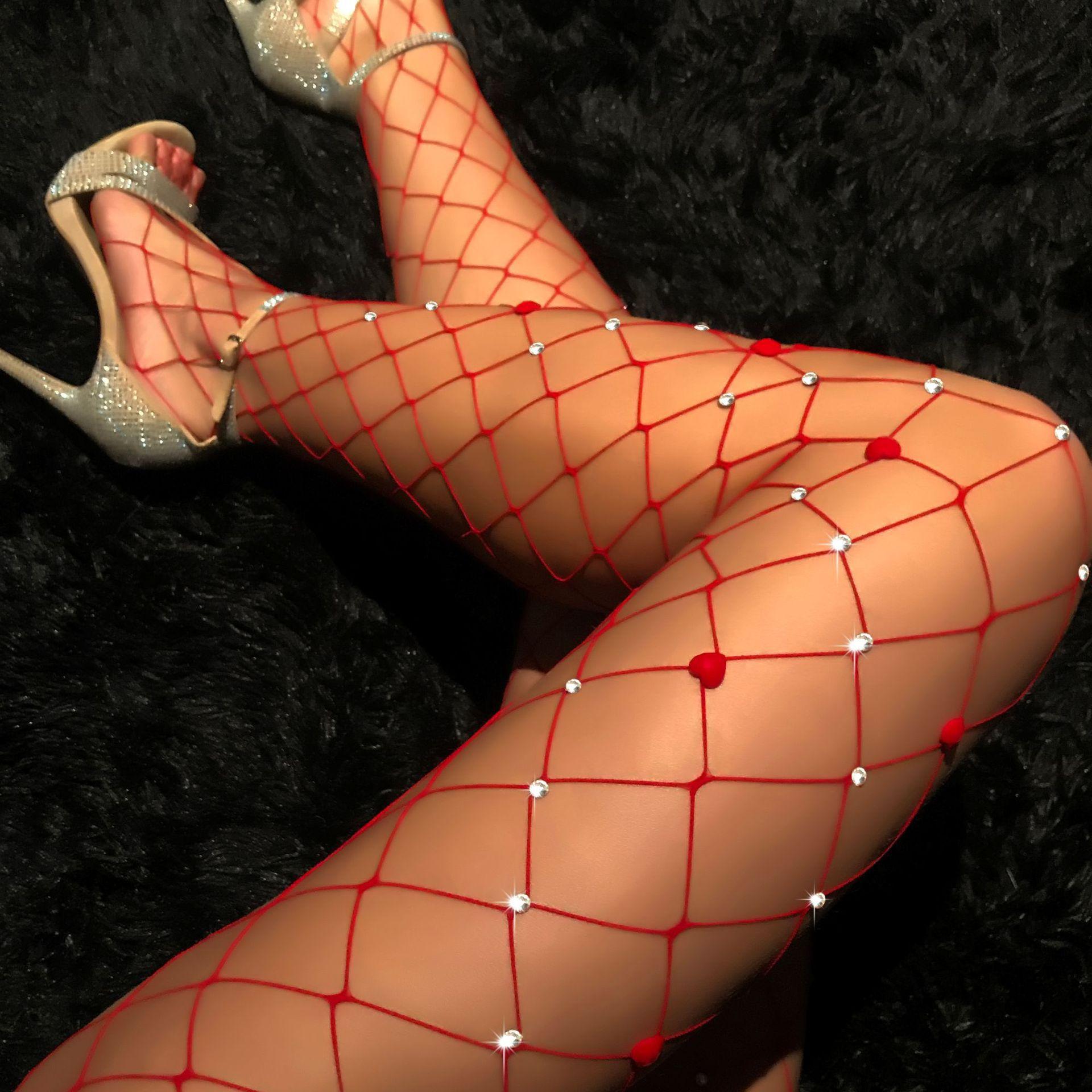 Mulheres sexy meias collant transparente lingerie fishnet meias glitter strass carnaval natal meias