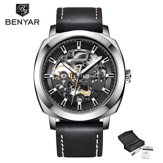 BENYAR ماركة الموضة الجوف الميكانيكية ساعة مشبك حزام تلقائي ساعة رجالي ساعة رجالي مضادة للماء ساعة رجالي
