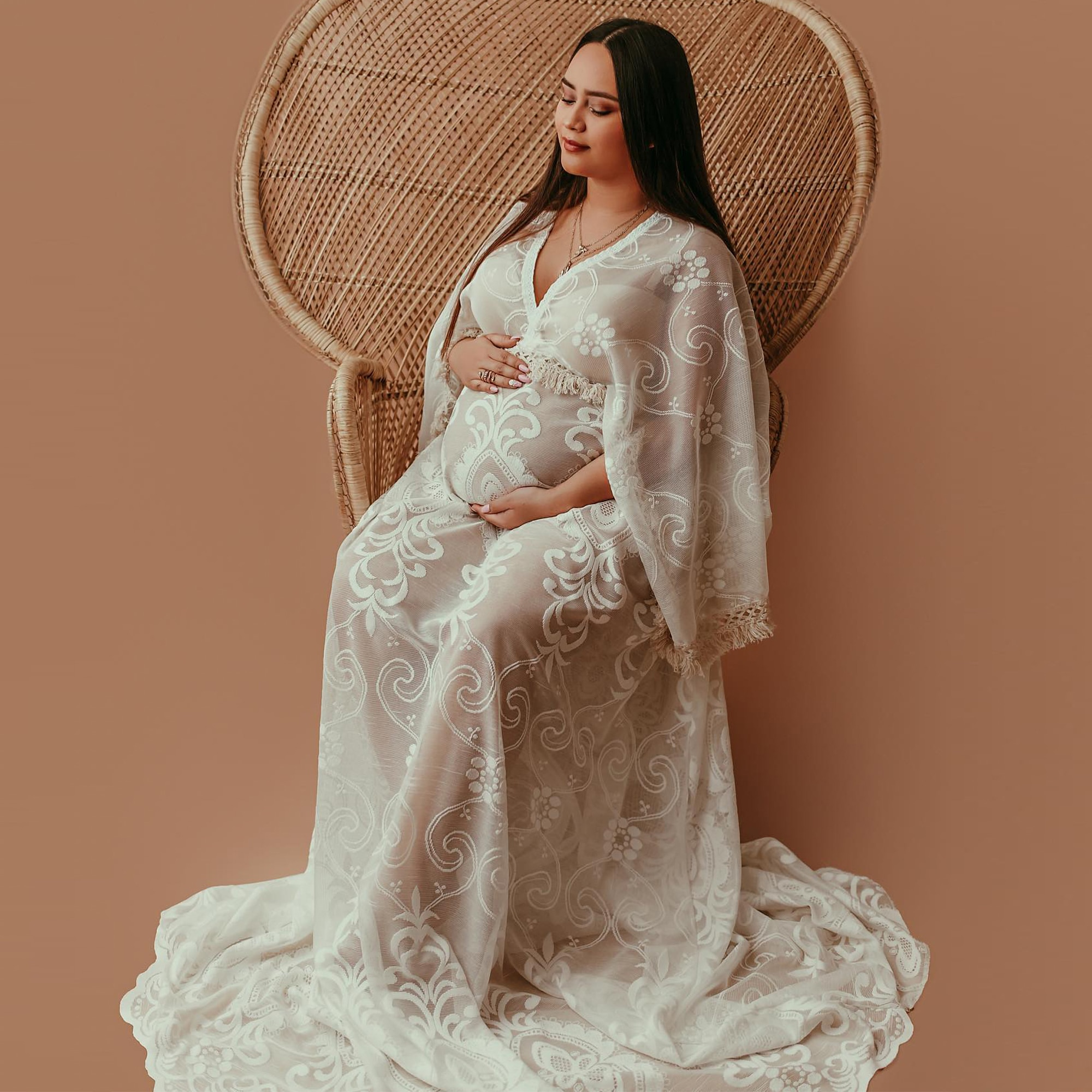 Don&Judy Boho V-neck Long Sleeve Lace Maternity Gown Photography Dress Party Dresses Baby Shower Photo Props for Photo Shoot enlarge