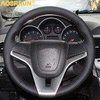 AOSRRUN Car accessories Sew genuine leather Car steering wheel cover For Chevrolet Cruze hatchback sedan 2009-2013 2014