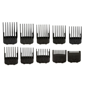 """10Pcs Black Magnetic Cut Hair Clipper Guides 1/16"""" - 1"""" Guards Limit Combs Fits Most W Clippers"""