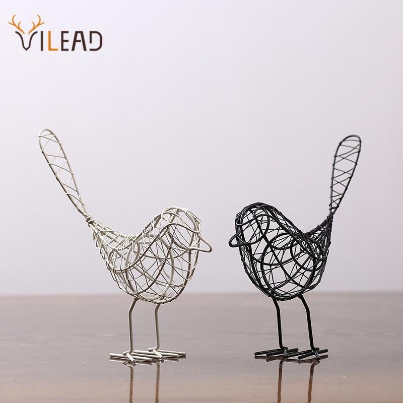 VILEAD Iron Bird Figurines Abstract Bird Miniatures Vintage Animal Figurine Home Decoration Creative Gift Souvenirs Room Decor