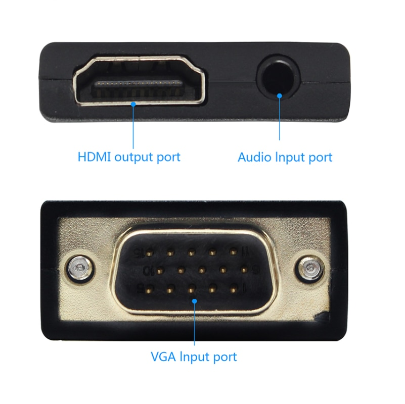 VGA to HDMI Converter 1080 P VGA to HDMI adapter with Video 1080P for PC Laptop to HDTV Projector with audio cable enlarge