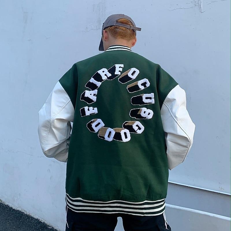 Куртка мужская и женская осенняя бейсбольная форма в стиле хип-хоп с вышивкой мотоциклетная куртка Осенняя сшиваемая Свободная куртка-бомб...