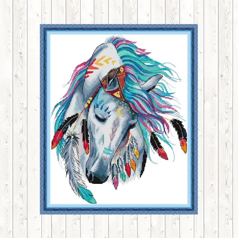Alegria domingo ponto cruz arco-íris cavalo padrões 14ct 11ct impresso tecido diy handwork bordado kit dmc bordado conjunto de costura atacado
