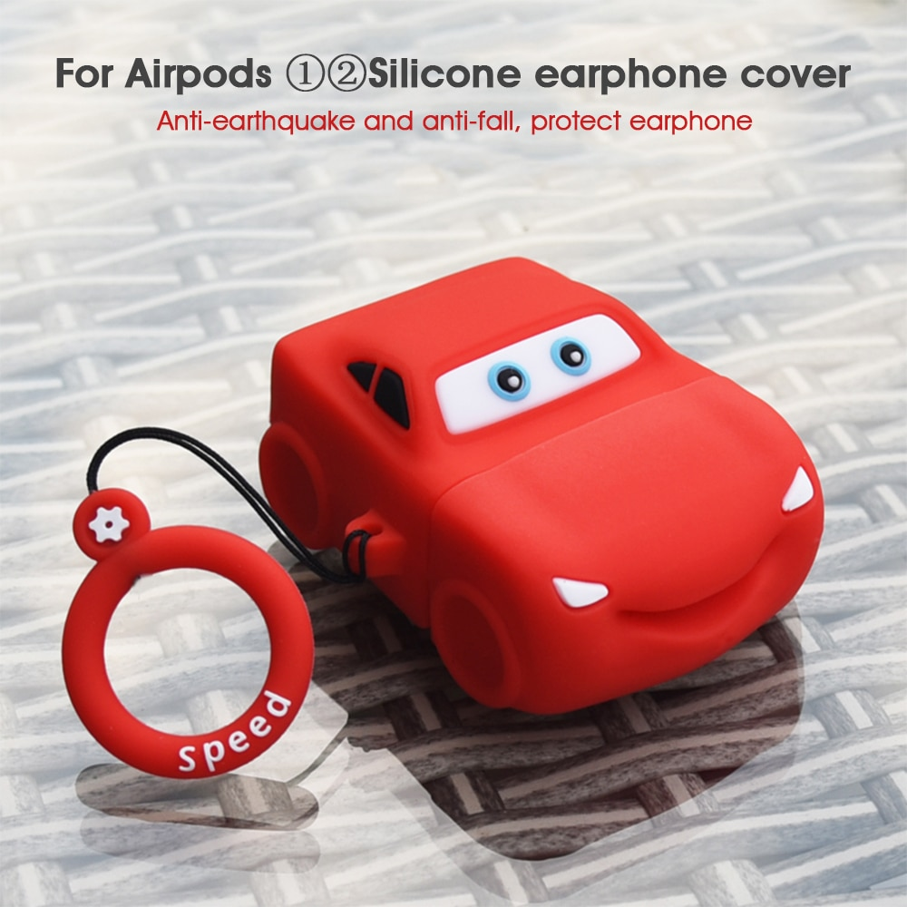 Funda 3D para Airpods 2 1 de silicona blanda con Linda forma de coche, funda protectora para Apple Airpods 1 2, caja de carga con ganchos