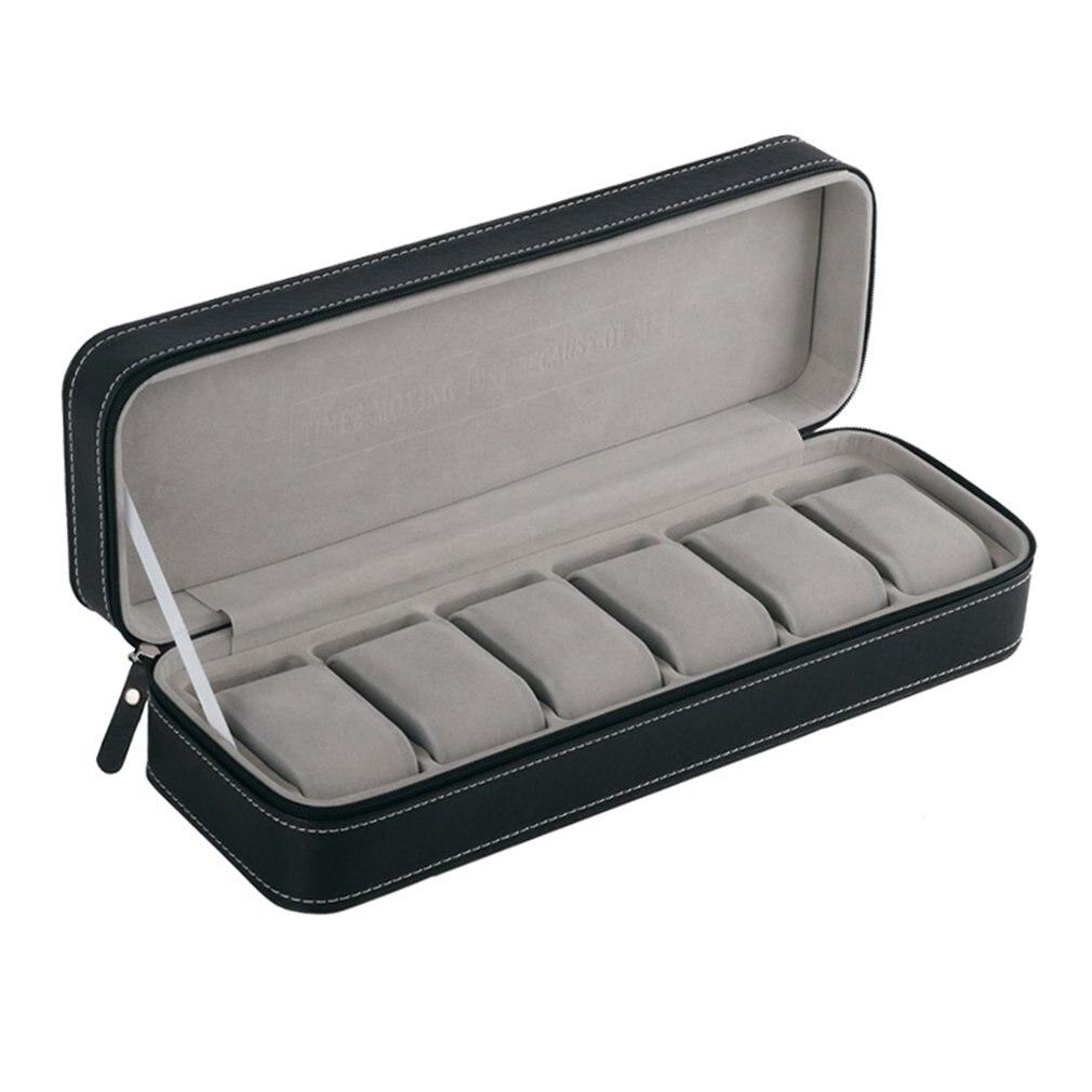 Estuche de cuero de PU negro gris con ranuras para VIP-70pcs-6, estuche de almacenamiento para reloj con cremallera para hombres
