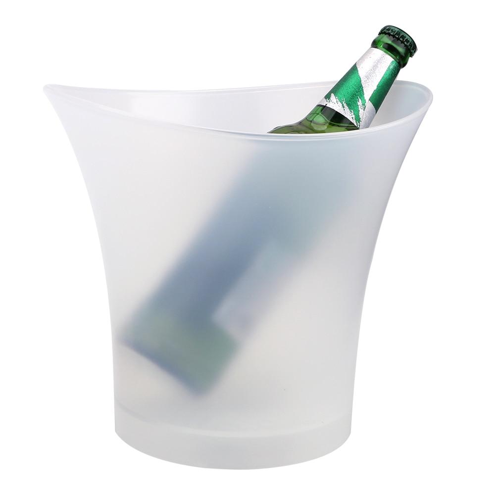 ITIMO, barras LED para cubitos de hielo, fiesta de discoteca, impermeable, de plástico, 4 colores, 5L, Cubo de champán, cerveza, luz LED, contenedor de cubitos de hielo