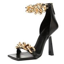 Summer Ladies Fashion Thin Heels Sandals Women's Sexy Pumps Metal Chain Square Toe Women Shoes Femal