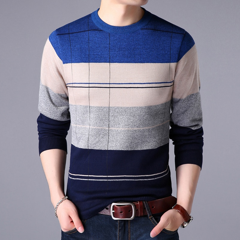 New Knitted Sweater Men Fleece O Neck Casual Striped Pullovers Mens Harajuku Fashion Knit Clothing Full