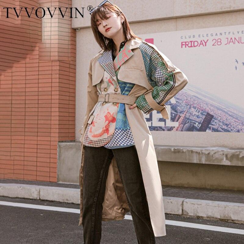 TVVOVVIN-معطف واق من المطر كاكي للنساء ، بأكمام طويلة ، نمط تجريدي ، خياطة ، موضة نسائية ، حاشية غير منتظمة ، مجموعة ربيع 2020 ، KBV8
