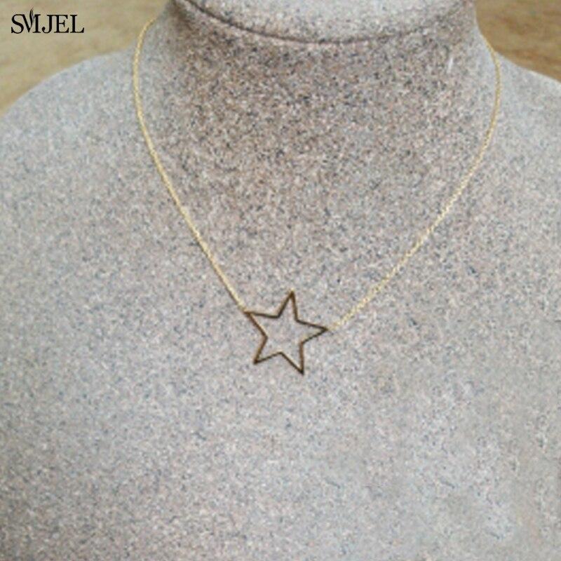 SMJEL Korean Hollow Star estatment collares para mujer joyería de moda collares geométrico Acero inoxidable Collier Femme regalos