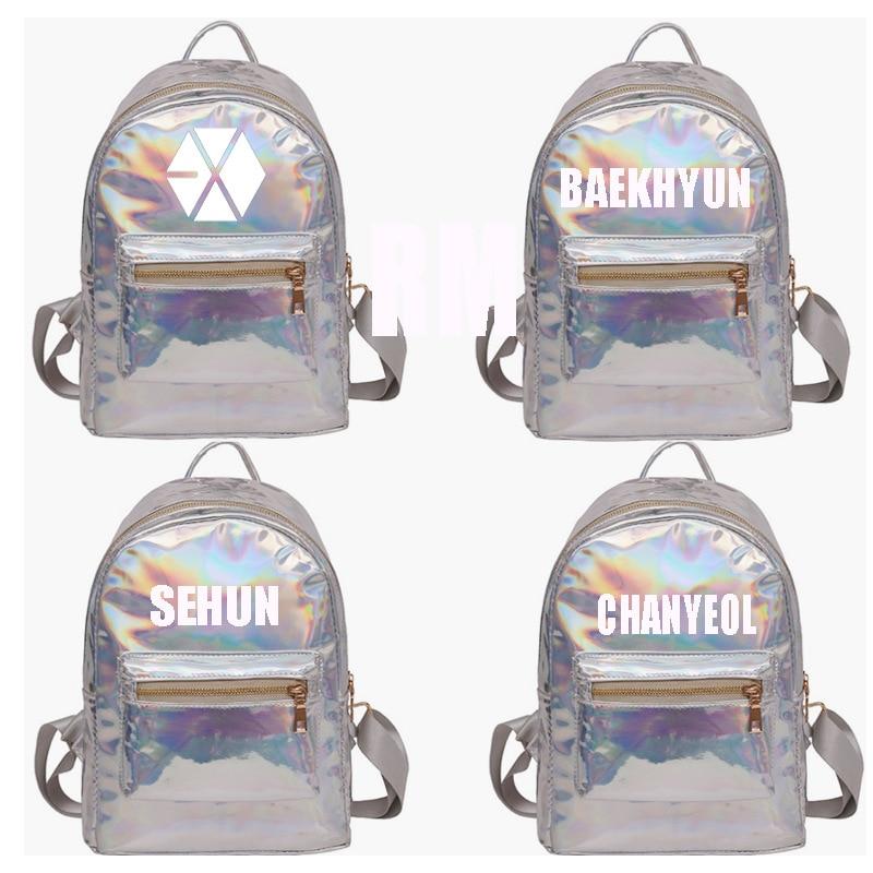 KPOP EXO Baekhyun Chanyeol The Same Laser Schoolbag Backpack Backpack Bag Surrounding
