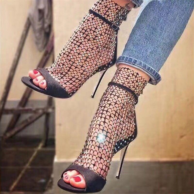 Sandalias Zapatos de mujer zapatos de tacones altos calcetines de rejilla de Sexy zapatos de verano sandalias hebilla de cristal delgada tacones Mujer Red zapatos