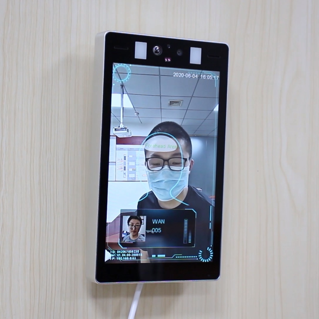 AI Face Recognition Body Temperature Infared Thermal Scanner Access Control System enlarge