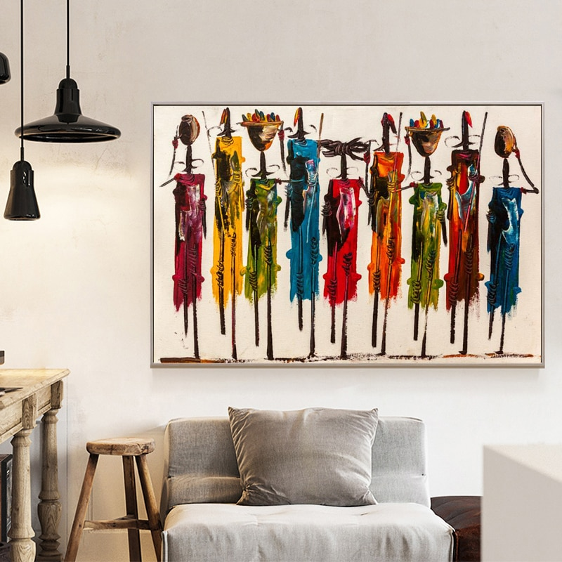 Pintura al óleo abstracta de mujer africana en carteles de lona y impresiones de arte de pared retrato cuadros para sala de estar decoración para el hogar No marco