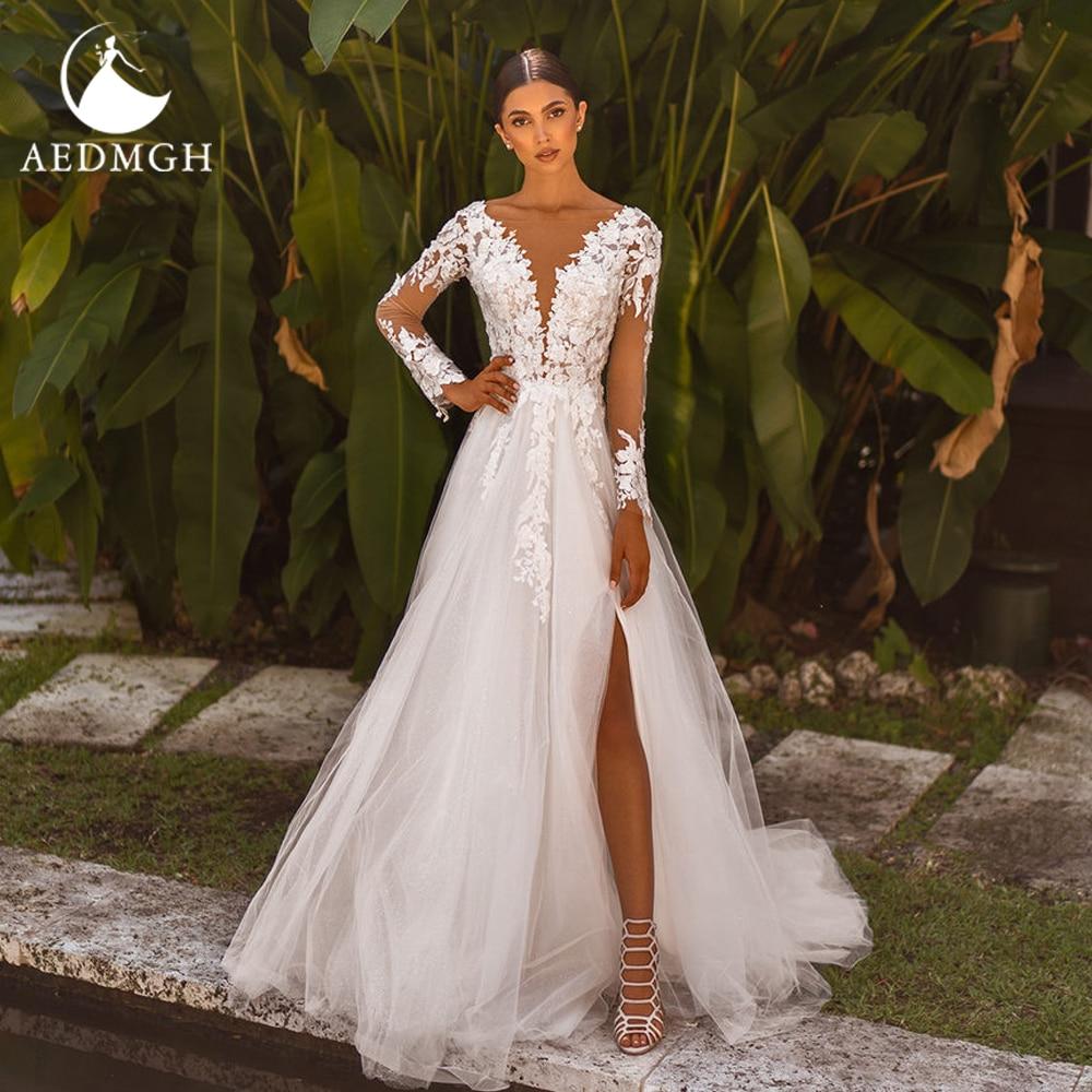 Promo Aedmgh A-Line Beach Wedding Dresses 2021 V-Neck Long Sleeve Bride Dress Lace Appliques Simple Court Train Split Bridal Gowns