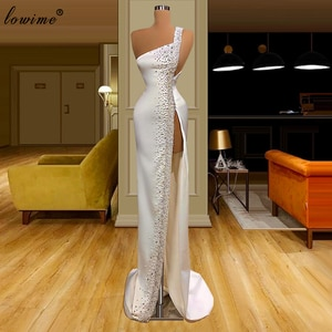 2 Designs White Pearls Prom Dresses Mermaid One Shoulder Arabic Evening Gowns Sexy Cocktail Party Dresses Robe De Soiree 2020