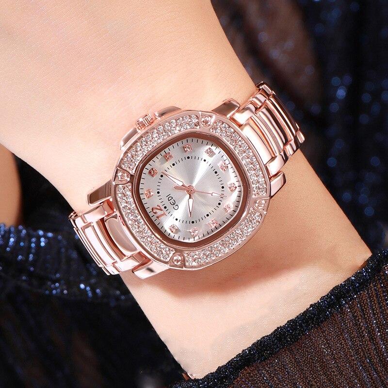 New Rose Gold Watch Women Quartz Wristwatch Ladies Steel Bracelet Watch Female Waterproof Women's Wa