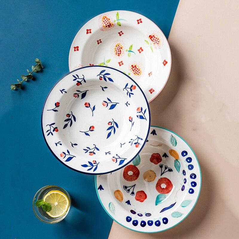 الشمال القش قبعة صينية صغيرة الأزهار أطباق من الخزف/ السيراميك لوازم المطبخ المنزلية الإبداعية ستيك طبق عشاء طبق الحساء العميق