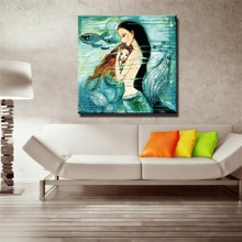 VOGVIGO-peinture à lhuile sirène murale   Affiches imprimées toile, photos pour salon chambre à coucher, décor de maison, photos dart, sans cadre