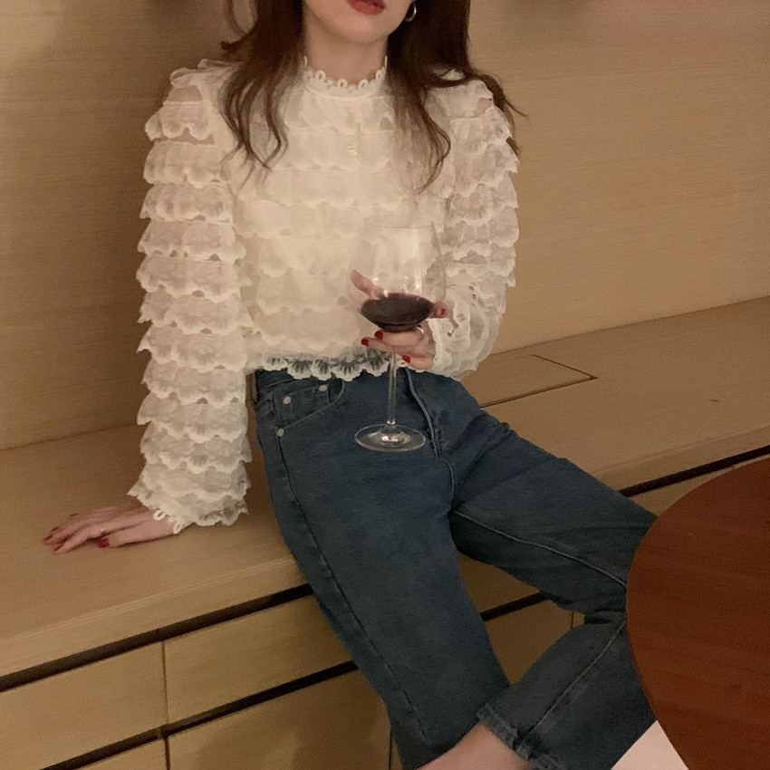 H9f082f7824ec43ec88e79a6146e1ab797 - Spring / Autumn O-Neck Long Sleeves Hook Flowers Hollow Out Ruffles Blouse