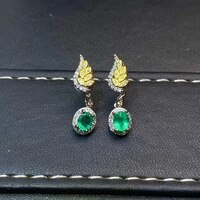 new natural emerald earrings 925 silver two color electroplating process luxurious and sexy design
