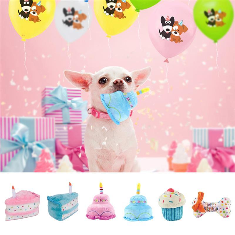 Juguetes Para morder de felpa para mascotas, juguetes creativos bonitos para perros, juguete de dentición para perros para suministros para mascotas gatos, forma de hueso para pastel de helado