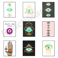 evil eye hamsa prints bohemian posters black and gold wall art evil eye art spiritual art decoration posters