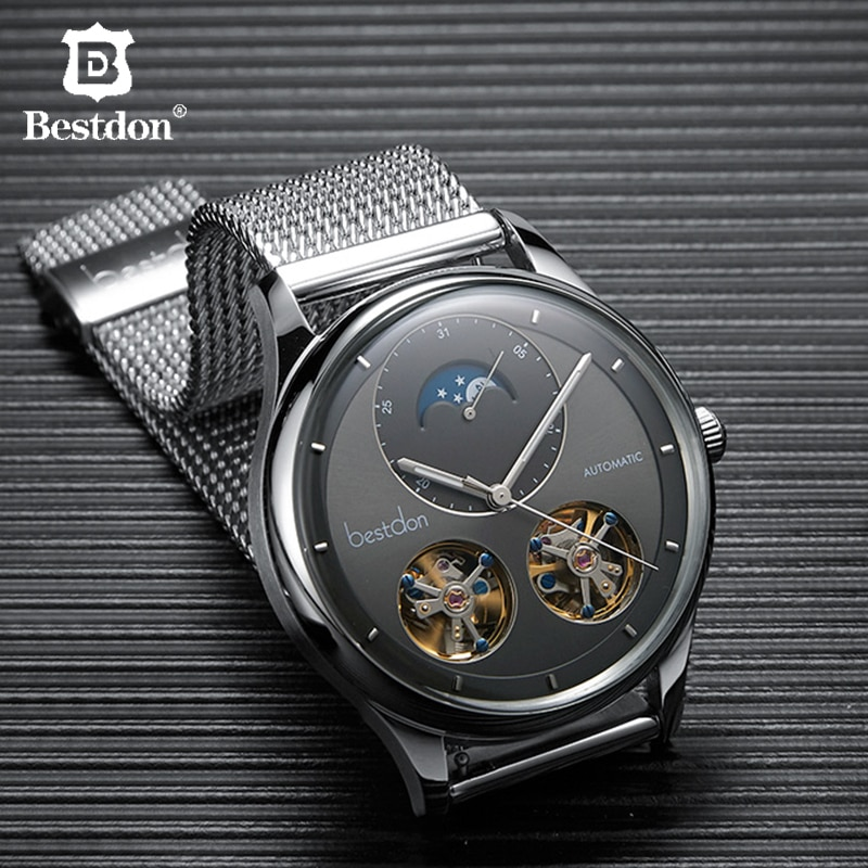 Bestdon Double Tourbillon Men's Watch Fashion Automatic Mechanical Watches Moon Phase Stainless Stee
