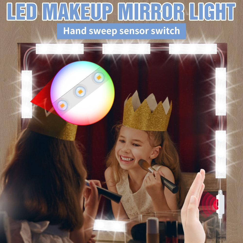 LED 5V Mirror With Light Dressing Table Kit 2 6 10 14 Modules Makeup Lamp USB Smart Hand Sweep Sensor Beauty Hollywood Dimmable