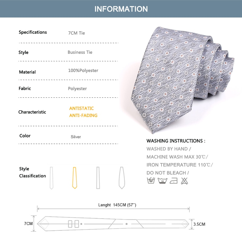 Brand New Men's Fashion 7CM Silver Ties High Quality Gentleman Business Ties For Men Business Suit Work Necktie with Gift Box