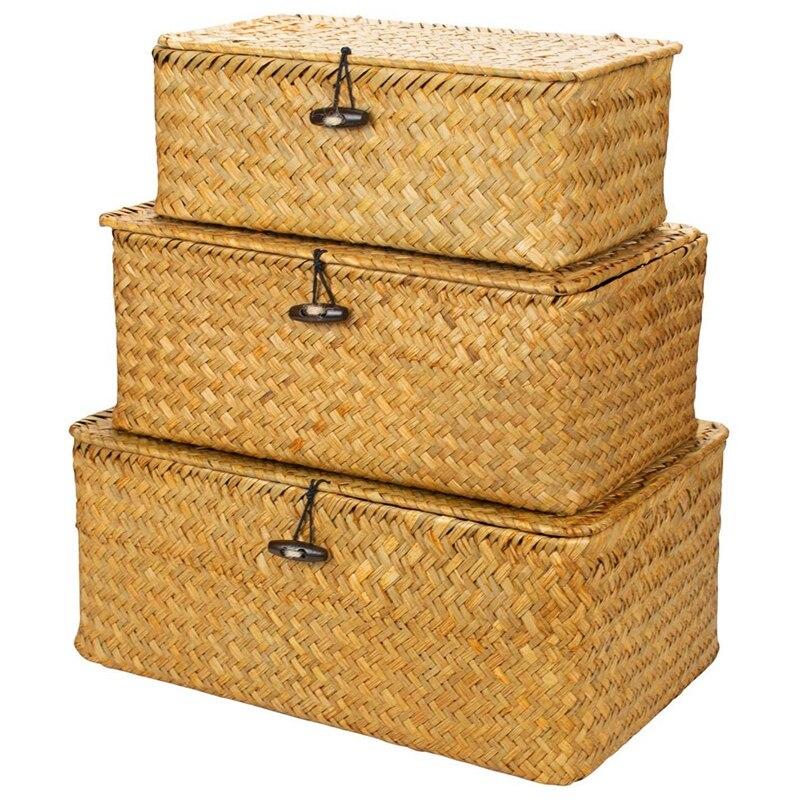 المنسوجة الخوص تخزين صناديق مع غطاء-مجموعة من 3-مستطيلة الأعشاب البحرية سلة/تخزين سلة ل الرف المنظم