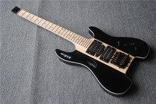 Guitarra eléctrica sin cabeza, cuello a través del cuerpo, Accesorios Negros, envío gratis, hecho a medida
