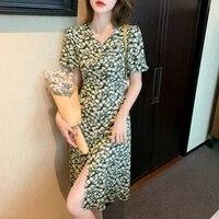 fashion french short sleeve long floral split dress womens summer 2021 new slim skirt