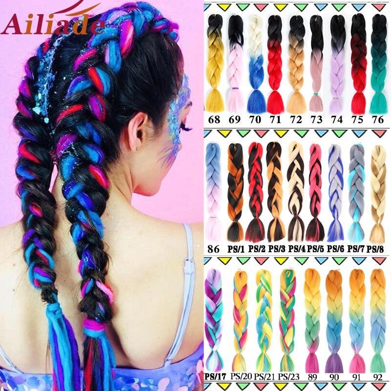 AILIADE 24 Jumbo pulgadas trenzado pelo sintético del pelo extensiones de cabello de ganchillo verde gris Ombre azul colores para Crochet trenzas de pelo