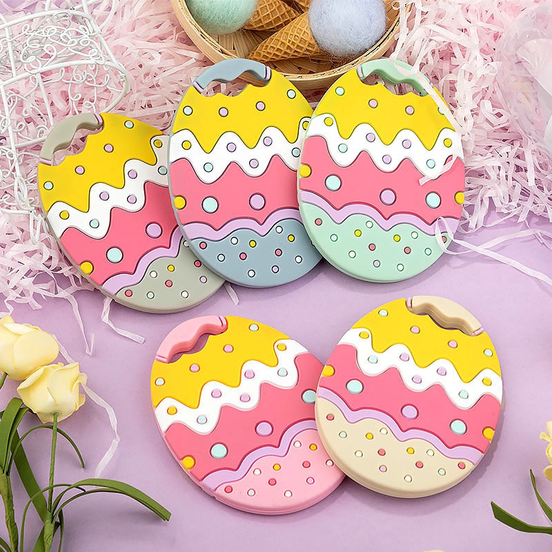 TYRY.HU 10pc Easter Baby Silicone Eggs Teethers Food Grade Silicone Tiny Rod Baby Teething Product Pacifier Chains BPA Free