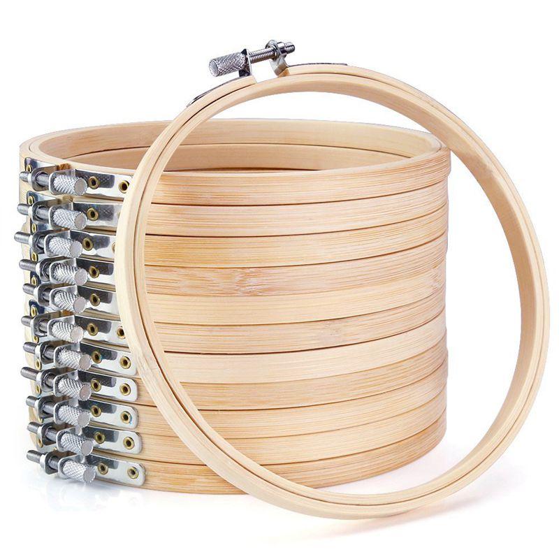12 unidades de aros de madera de 6 pulgadas para bordado, venta al por mayor, de bambú, círculos cruzados, aro de punto, anillo redondo para arte artesanal, costura práctica, Dr