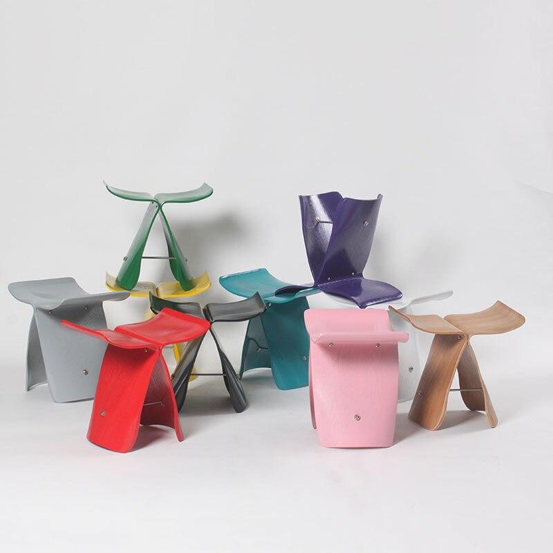أثاث غرفة المعيشة الإبداعية كرسي بسيط منخفض البراز موطئ قدم جيد بسيط الخشب الرقائقي خشب متين كرسي قابل للطيّ