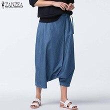 ZANZEA Kadınlar Casual Harem Pantolon Artı Boyutu Yaz Sonbahar Bırak Crotch Denim Mavi Pantolon Vintage Lace Up Pantalon Hip Hop pantolon