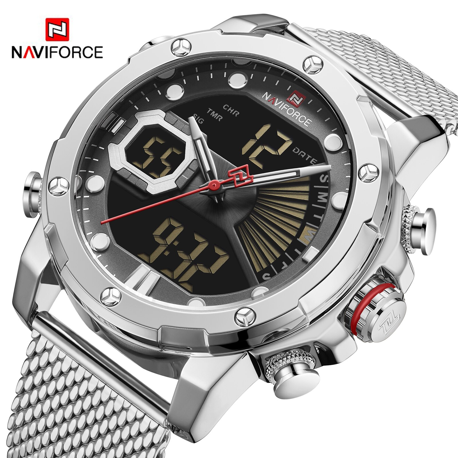 Luxury NAVIFORCE Men's Watches Military LED Digital Sports WristWatch Steel Strap Waterproof Quartz Clock Male Relogio Masculino