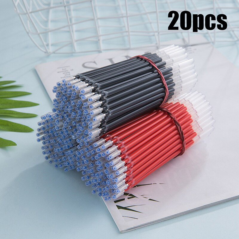 20 pièces Gel encre stylo 0.5mm bleu/noir/rouge encre stylo à bille pour école bureau écriture fournitures effaçable papeterie