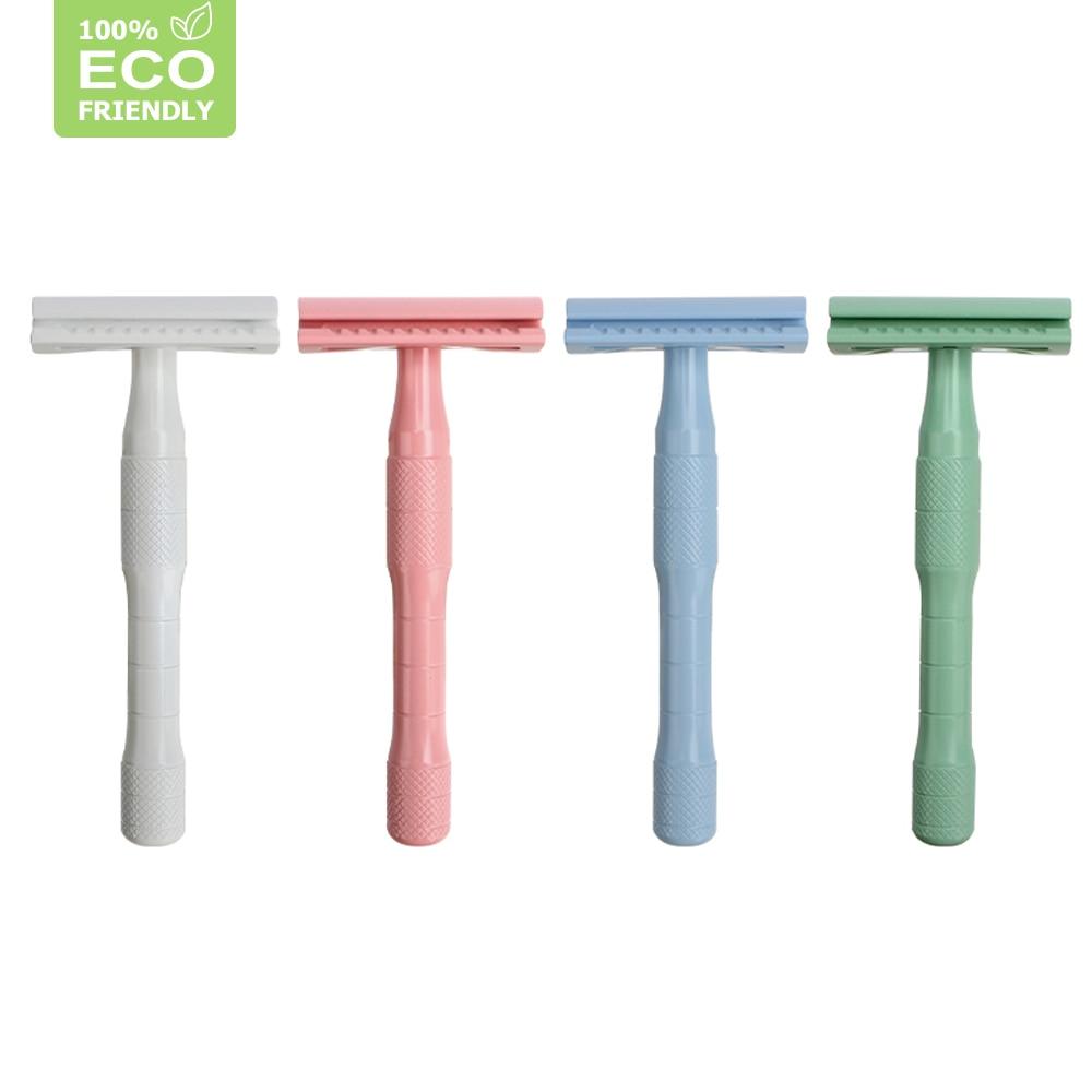 Edieu 7 Colors Double Edge Safety Razor For Women,Eco Friendly Men Manual Metal Shaving Razor,20 Razor Blades,Support Dropship