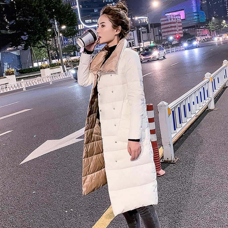 FTLZZ Women Double Sided Down Long Jacket Winter 90% White Duck Down Coat Double Breasted Warm Parka
